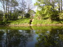 Nenápadný propust na levém břehu Moravy nad městem Litovel může regulovat stav ve slepém rameni, které není z  pohledu přes řeku vidět.