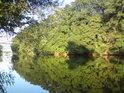 Stromy vrhají dlouhý stín přes řeku Moravu u Rohatce.