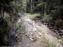 První větší ostrůvek na řece Moravě se nachází pod dřevěnou lávkou v nadmořské výšce zhruba 850 m.